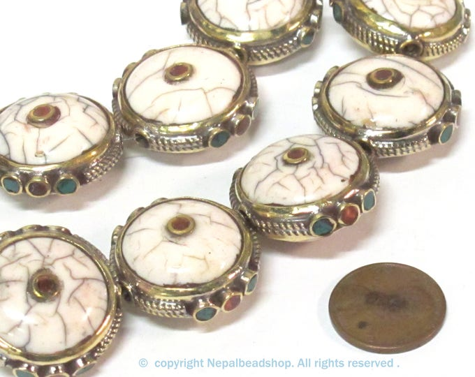 1 Bead - Round Tibetan white crackle Resin bead with brass turquoise and coral inlay   - BD969B