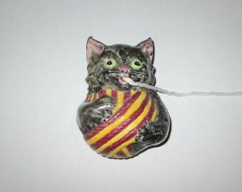 Vintage 1950s String Holder Wall Pocket / 50s Cat String Holder / 50s Cat Wall Pocket
