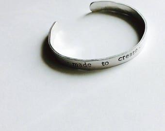 Hand Stamped, Hammered Metal Bracelet