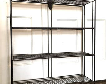 Mid Century Modern Wood and Iron Shelf or Bookcase
