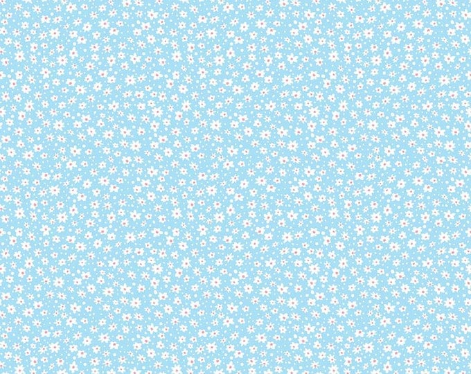 Mae Flowers Fabric by Lindsay Wilkes from The Cottage Mama for Riley Blake Designs and Penny Rose Fabrics - Blue Daisy