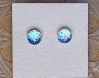 Dichroic Glass Earrings , Pale Green/Gold   DGE-1177