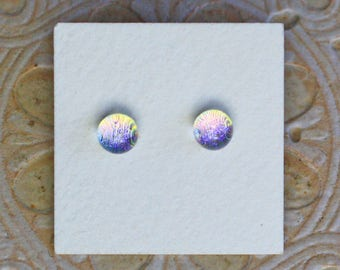 Dichroic Glass Earrings , Petite, Gold/Green Tint/Lavender  DGE-1241