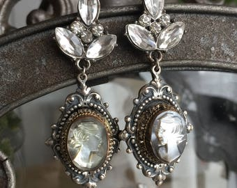 classic cameos - rhinestone drop earrings vintage shell abalone victorian revival dangle pierced, the french circus