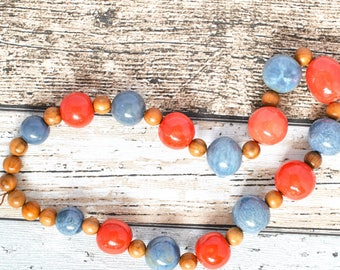 Fair Trade Kazuri Necklace - Blue Bead African Necklace - Coral Bead Wood Necklace - Kazuri Bead Upcycled Necklace - Blue Necklace - Kenyan