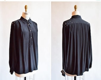 25% off Storewide // Vintage made in ITALY black embellished silk blouse