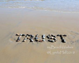 Word Art- TRUST, Beach photography, beach stone letters, beach decor, myBeachWishes rock art, beach writing, inspirational, anniversary gift