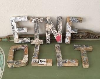 vintage Alphabet newspaper covered Letter lot for home decor display