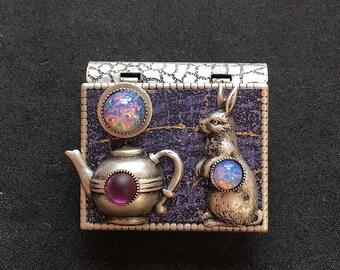 Rabbit and Teapot - miniature book pin