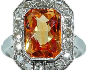 ON SALE Orange sapphire ring white gold diamond Vintage cocktail ring circa 1950