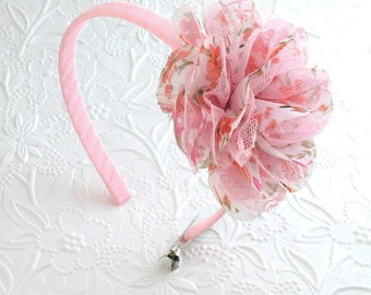 Easter Headband ~ Girls, Toddlers Pink Lace Flower Headband ~ Flower Girl Headband ~ Flower on Hard Headband