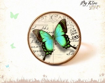 Vintage • Butterfly Postcard • retro glass Cabochon ring