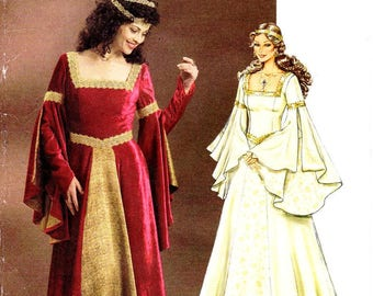 Sz 6/8/10/12 - Butterick Costume Pattern B4571 - Misses' Medival Dress or Wedding Gown in Two Variations - Historical Costume Pattern