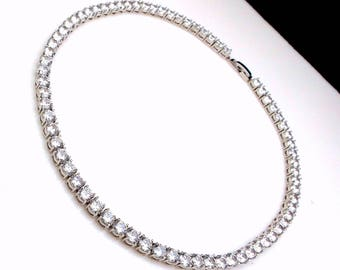 bridal necklace wedding jewelry prom party necklace 6mm round rhodium silver plated AAA cubic zirconia collar necklace choker necklace