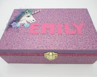 Unicorn Keepsake Box - Wooden Keepsake Box- Wooden Memory Box- Purple- Teal- Birthday Letters - 1st. Birthday -Time Capsule