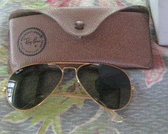 Great Vintage B & L Ray Ban Gold Filled Aviator Sunglasses With case