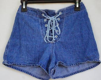 Vintage 90s High Waisted Lace Up Jean Shorts/Denim/Retro/Hippie