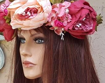 Floral Wreath Crown,  Flower Crown,  Bridal Crown,  Wreath Crown,  Bridal Crowns, Wedding Crown,  Bridal, Crown, Burgundy,  Light peach