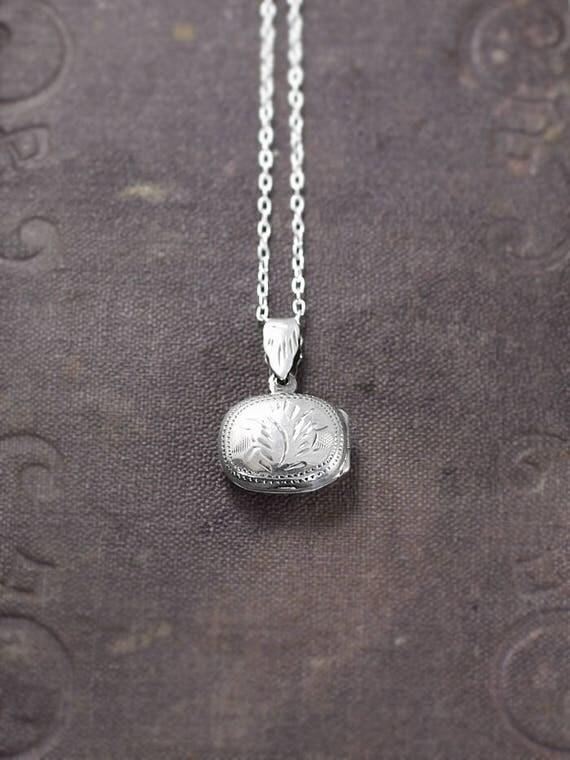 Small Sterling Silver Locket Necklace, Classic Double Side Patterned Photo Pendant - A Little Love