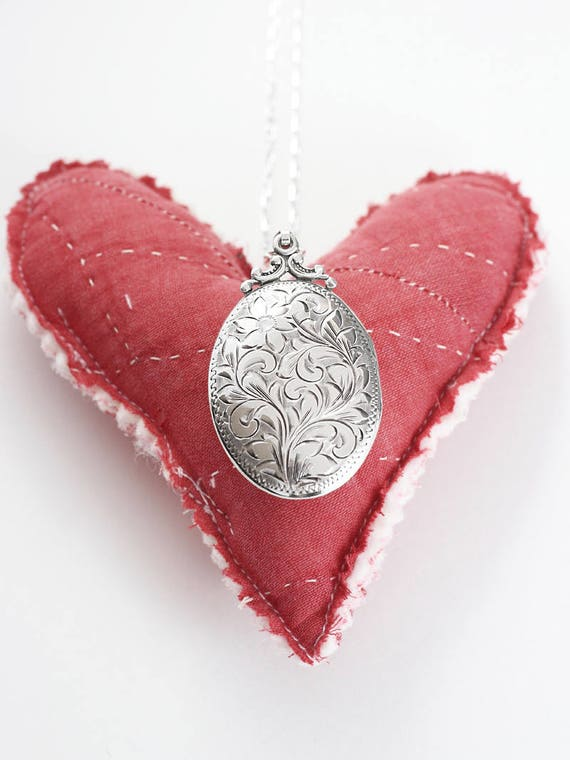 Birks Sterling Silver Locket Necklace, Classic Large Oval Vintage Photo Pendant with Original Bail - Cherishing Family