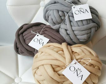 Jumbo Cotton Tube yarn Vegan Wool Beige