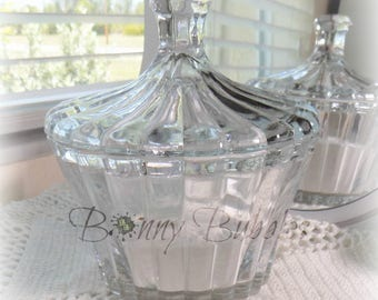 Body Powder Dish   |  5 inch glass  |  dusting powder bowl with lid  |  Bonny Bubbles