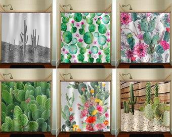 Cactus Shower Curtain bathroom decor fabric kids extra long window curtains panels valance bathmat