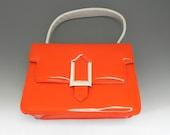 Ultra Mod Vintage 60s Handbag ,Orange and White Patent Handbag with Buckle