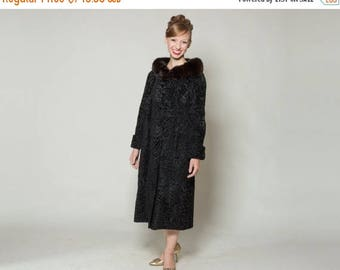 HALF PRICE SALE Vintage 1960s Black Fur Coat - Persian Lamb Broadtail - Sable Collar Winter Fashions