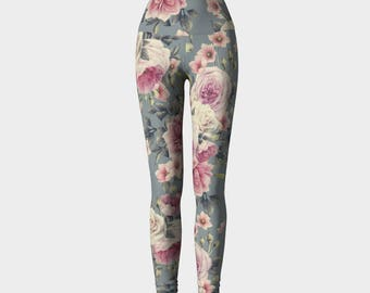 Antique Rose Yoga Pants Design Bold Graphic Pattern Size XS S M L XL Active Wear Gym Leggings