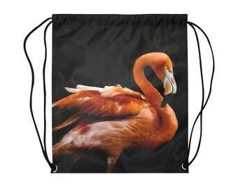 Pink Flamingo Drawstring Bag | Bold Photographic Print | Lightweight | Swim Sport School Shopping | Black Background | Nature Photography