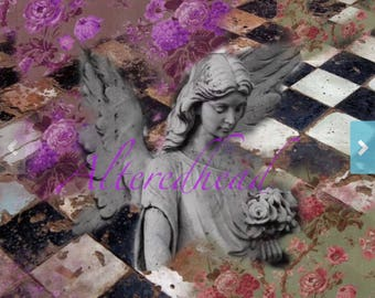 Gratitude A Mixed Media Print 5x7 ALTERED MIXED MEDIA Print Original Design Alteredhead On Etsy Statue Print Black And White Floral Photo