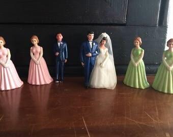 Vintage 1950s wedding cake topper wedding party bride groom bridesmaids groomsmen usher handpainted pink green 50s 60s bridal shower