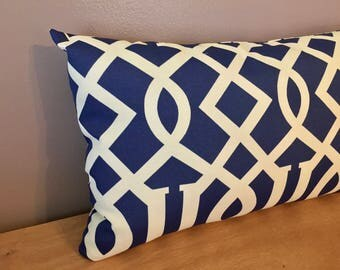 20x12 Navy Blue and Cream Indoor Outdoor Lattice Fretwork Lumbar Pillow