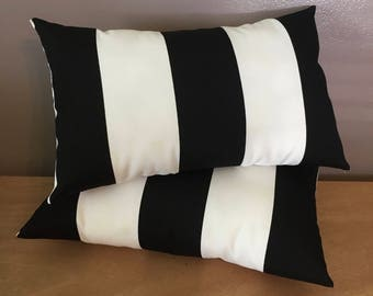 2 Decorative Black and White Indoor/Outdoor 3 Inch Wide Stripe Lumbar Pillows