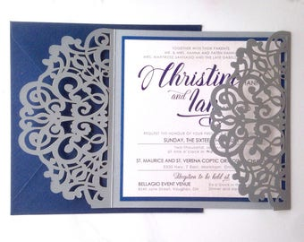 Silver and Navy - *Sample* Shimmering Pearl Silver Laser Cut Folder with Navy Blue and White Wedding Invitation