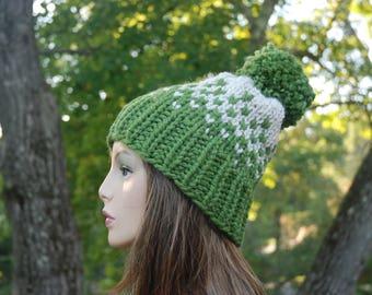Fair Isle Knit Hat, Green Fair Isle Knit Hat, Women's Knit Hat, Men's Knit Hat, Winter Hat, Hand Knit Hat, Knit Hat, Chunky Knit Hat
