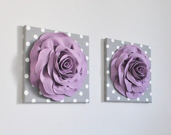Purple Rose Wall Art Fabric Wool Felt Wall Sculpture Lilac on Gray and White Polka Dot Modern Nursery, Bathroom, Bedroom, Kitchen Wall Decor