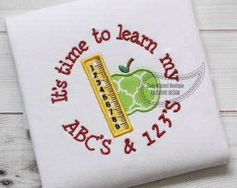 Time to learn ABC & 123's with ruler and apple applique
