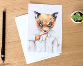 Ash. Attitude - Art Postcard. Watercolour Illustration. Fantastic Mr Fox. Stationary. Wes Anderson