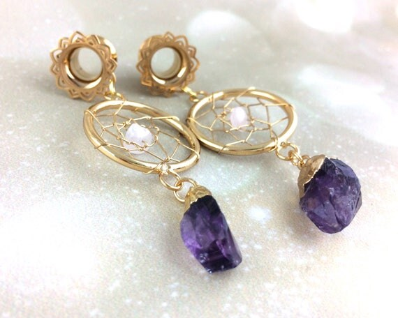 Gold Mandala Ear Gauge Tunnel Tassel Dangle Earrings