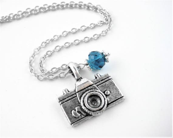 Custom Birthstone Crystal Camera Necklace