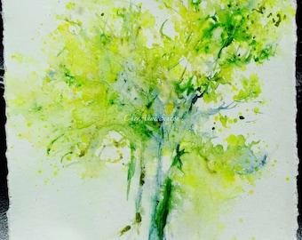 Tree watercolor YellowGreenTree #1 washy pallet knife watercolor ORIGINAL tree art