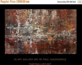 """17% OFF /ONE WEEK Only/ Free Shipping Enormous 6 ft abstract Knife by Paul Juszkiewicz 74""""x48"""" red brown yellow"""