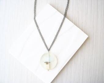 Long Resin Pendant Necklace - Neutral, Artsy Jewelry, Minimalist, Geometric, Unusual, Clear, Cream, Light Blue, Black, Chain