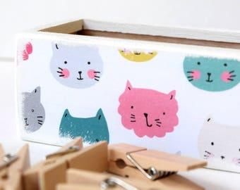 Kitty Pencil Box - Pencil case - Desk Organizer, Wood Box, Art Supplies, School Supplies, Storage, Back To School, Supply Box, Kids