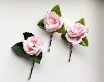 Three Pink Rose Bobby Pins - Wedding/Party/Summer