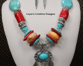 Cowgirl Western Necklace Set - Southwest Necklace Set - Western Statement Necklace - Howlite Turquoise and Coral Necklace - INDIAN FEATHERS