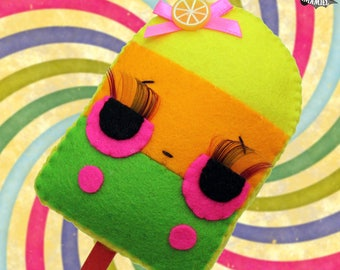 Tropical popsicle freeze pop ice lolly little plush doll anthropomorphic food cute kawaii ornament