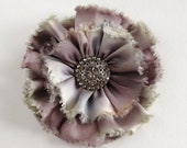 Frayed gray hand dyed silk satin ribbon flower pin with antique rhinestone button